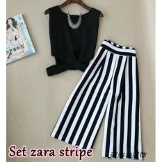 Pakaian/Stelan Wanita - Fashionable - ST Zaraa Stripe - Maroon