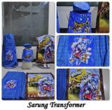 Paket Ibadah Anak Sarung Peci Sajadah Tas Karakter Transformer Biru Multi Diskon