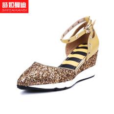 Paku Keling Berongga Perhiasan Yang Berkelip-Kelip Logam Dekorasi Gelang Kaki Sepatu Wanita Gesit (Kuning)