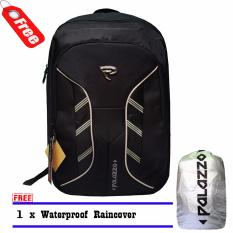 Jual Palazzo Backpack Tas Ransel Laptop 300046 Original New Desain Mf Black Raincover Branded Murah