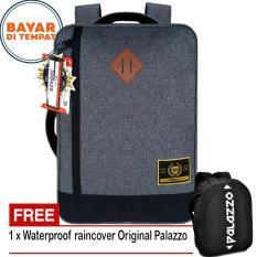 Palazzo Tas Ransel Tas Laptop Tas Selempang 3in1 Multifungsi Material Kanvas Original - Grey + Raincover