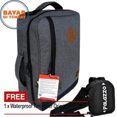 Palazzo Tas Ransel Tas Laptop Tas Selempang Multifungsi 300425 Material Kanvas Original - Grey + Raincover