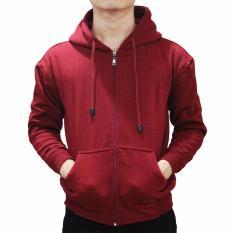 Beli Palemo Jaket Sweater Polos Hoodie Zipper Merah Maroon Unisex Lengkap
