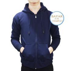Jual Palemo Jaket Sweater Polos Hoodie Zipper Navy Blue Unisex Murah Jawa Barat