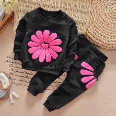 PALIGHT Seorang Gadis Kecil Bunga Matahari Setelan Kemeja + Celana Telah Ditetapkan (hitam)