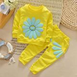 Harga Palight Seorang Gadis Kecil Bunga Matahari Setelan Kemeja Celana Telah Ditetapkan Kuning Palight
