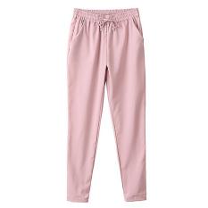 PALIGHT Perempuan Lepas Celana Kain Sutera Tipis Serut Pinggang Elastis Wanita (Berwarna Merah Muda)