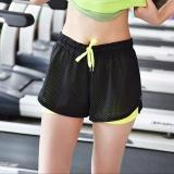 Beli Palight Wanita Sport Kebugaran Yoga Pants Bang Pendek 2 In 1 Cepat Kering Elastis Celana Kredit