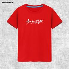 Pan Wei Animasi Pria atau Wanita Musim Panas Kaos Daun Jeruk Bali (Merah)