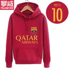 Pan Wei Dalam Baju Sepak Bola Musim Gugur atau Musim Dingin Berkerudung Kaos Sweater Pakaian Latihan (Anggur Merah)