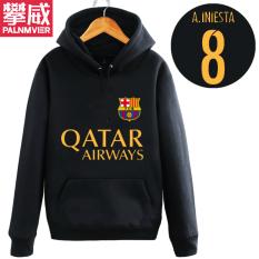 Pan Wei Dalam Baju Sepak Bola Musim Gugur atau Musim Dingin Berkerudung Kaos Sweater Pakaian Latihan (Hitam 2)