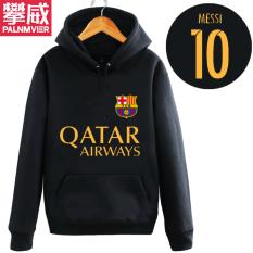 Pan Wei Dalam Baju Sepak Bola Musim Gugur atau Musim Dingin Berkerudung Kaos Sweater Pakaian Latihan (HITAM 4)