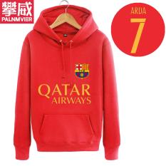 Pan Wei Dalam Baju Sepak Bola Musim Gugur atau Musim Dingin Berkerudung Kaos Sweater Pakaian Latihan (Merah)