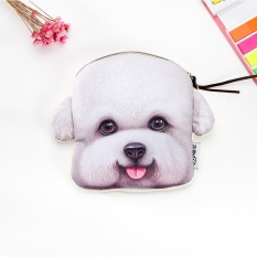 Panda Online Anjing Dompet Kasus Riasan Cosmetic Tas Kartu Kunci Koin Dompet (Bichon Frise)-Internasional