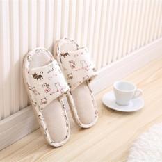 Panda Online Women Men Anti-slip Cute Linen Home Indoor Slippers Open Toe Shoes Flax - intl