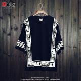 Jual Kaos Oblong Pria Lengan 3 4 Motif Cetak Gaya Eropa Amerika Hitam Hitam Online Di Tiongkok