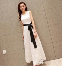 Dress Renda Tanpa Lengan Slimming Wanita (Putih) (Putih)