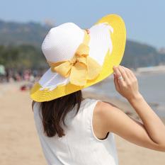 Iklan Pantai Matahari Musim Panas Perempuan Matahari Topi Topi Topi Jerami Kuning