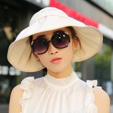 Topi Matahari Pantai Musim Panas Musim Panas Topi Pelindung Terik Matahari Bisa Dilipat (Warna Beras)