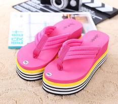 Pantai Sabuk Kain Perempuan Hak Super Tinggi Sandal Sandal Jepit (Merah Mawar Warna)