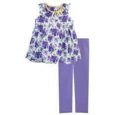 Toko Papeterie Baju Setelan Anak Perempuan St 232 Floral Pita Kuning Ungu Lengkap