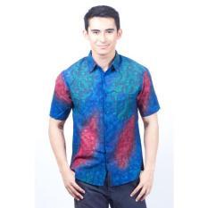 Spesifikasi Parama Kemeja Batik Pria Lengan Pendek Slimfit Palm Biru Lengkap Dengan Harga