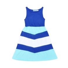 Anak-anak Pakaian Musim Panas Baru Penyambungan Bergaris Ibu dan Putri Gaun-Internasional