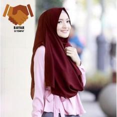 Pashmina Instan Raisa  - Maroon / hijab instan / pashmina / segi 4 instan / jilbab praktis / kerudung termurah / hijab terbaru