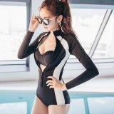 Jual Patchwork One Pieces Setelan On Sunscreen Zipper Lengan Panjang Wanita Surfing Pakaian Menyelam Swimsuit Lengkap