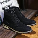 Harga Pathfinder Fashion Pria Suede Boots Gaya Inggris Pria Hitam Yang Murah