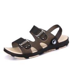PATHFINDER Korea Fashion Pria Musim Panas Bernapas Lembut Slip Sandal Mandi Sandal Pantai Sandal-Brown