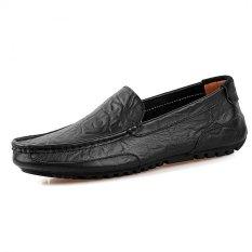 Toko Pathfinder Pria Berkendara Sepatu Kulit Sepatu Slip Ons Hitam Online Tiongkok