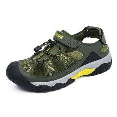 Beli Pathfinder Pria Flat Leather Slipper Sandal Sandal Hiking Hijau Intl Online Terpercaya