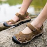 Pathfinder Pria Datar Kulit Sporty Sandal Velcro Sandal Hiking SEPATU (Brown) | Lazada Indonesia