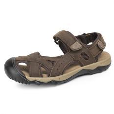 Spesifikasi Pathfinder Pria Datar Kulit Sporty Sandal Velcro Sandal Hiking Sepatu Cokelat Kehitaman Pathfinder Terbaru