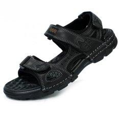 Pramuka Pria Kulit Sandal Datar And Sporty Perekatnya Sandal Sepatu (Hitam)