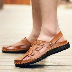 Spesifikasi Pramuka Fashion Pria New Nelayan Sandal Kulit Sandal Datar Coklat Dan Harga