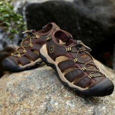 Beli Pathfinder Pria Fashion Sandal Kulit Sepatu Luar Ruangan Coklat Tua Intl Yang Bagus