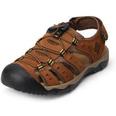 Pathfinder Pria Fashion Sandal Kulit Sepatu Luar Ruangan (coklat Muda)-Intl