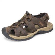 Beli Pathfinder Pria S Fashion Summer Fishman Kulit Pantai Luar Ruangan Sandal Sepatu Coklat Tua Cicilan