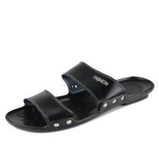 Spesifikasi Sepatu Slide Sandal Kulit Pathfinder Pria Hitam Terbaik
