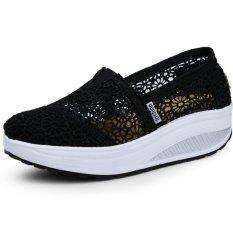 Jual Pathfinder Wanita Fashion Wedge Sneakers Sport Lace Sepatu Hitam Import