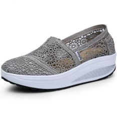 Toko Pathfinder Wanita Fashion Wedge Sneakers Sport Lace Sepatu Abu Abu Online
