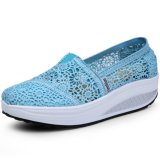Jual Pathfinder Wanita Fashion Wedge Sneakers Sport Lace Sepatu Light Biru Branded