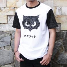 kaos pria distro pattern owl white