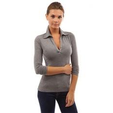 PattyBoutik Womens V Leher Lengan Panjang Polo Shirt-Intl