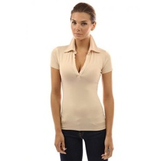 PattyBoutik Womens V Neck Short Sleeve Polo Shirt - intl
