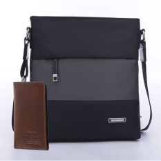 Spesifikasi Paul Tas Kanvas Kasual Tas Ransel Pria Bisnis Hitam Dengan Abu Abu Ditambah Wallet Lengkap Dengan Harga