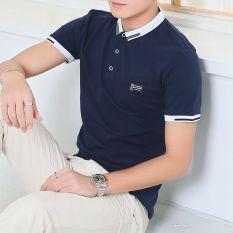 Paul musim panas pria lengan pendek t-shirt dengan kerah kemeja POLO (GF092 (biru tua)) (GF092 (biru tua))