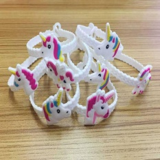 Pawliss Emoji Gelang Gelang Unicorn Birthday Party Favors Supplies untuk Mainan Anak Hadiah Karet Band Gelang-acak-Intl
